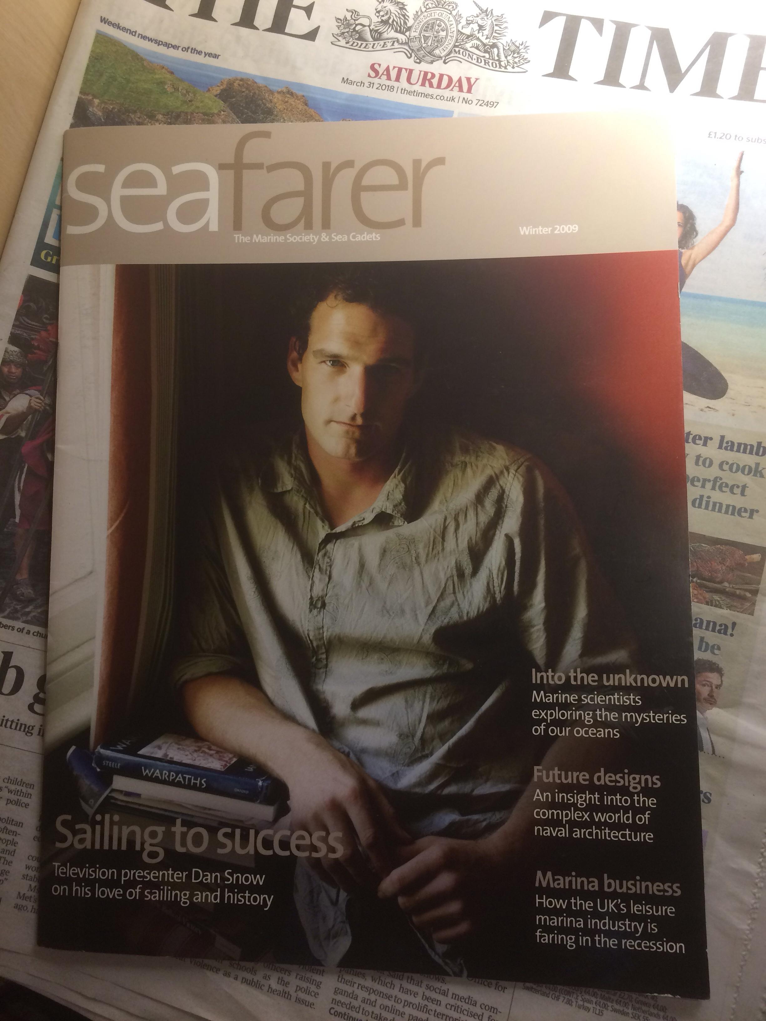 Historian and BBC presenter Dan Snow on the front cover of Seafarer magazine
